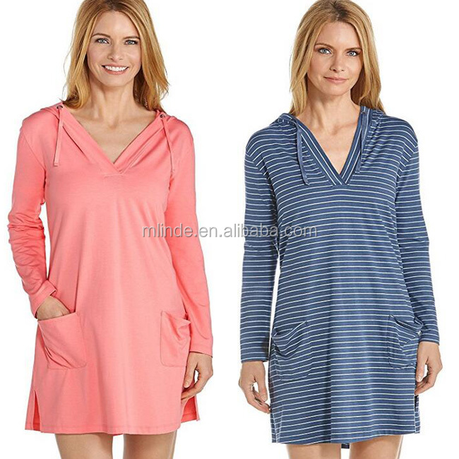 Latest Dress Designs Pictures Western Women Plain Sexy Hood Sun Protective Beach Cover Up Dresses Wholesale