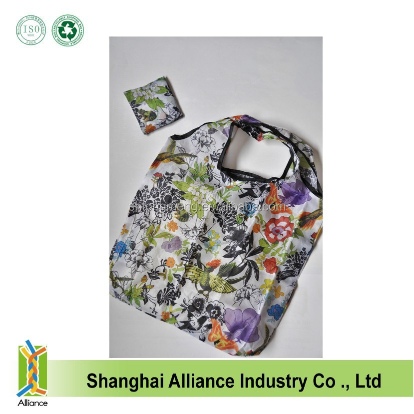 Rose Flowers Hummingbird Spring Eco Reusable Foldable Shopping Tote Bag