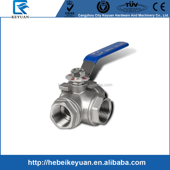 SS 3Way Ball Valve L-Type 1000WOG Threaded Ends