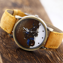 2016 New Arrival Vogue Ladies Girls Watch Jean Cloth Pasted PU Leather With Bule Motorcycle Watch-face Quartz Watch