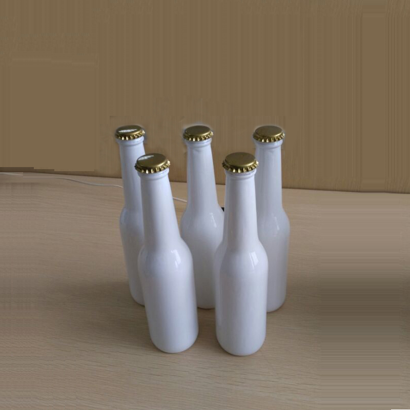 Custom design white beer glass bottle 330ml