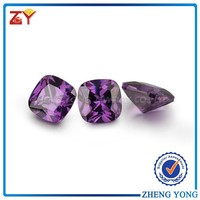 12x12mm amethyst cz gemstone for shoes/ synthetic loose gemstone square wholesale/ top-ranking cushion cut cubic zirconia