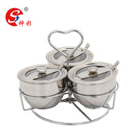 201 stainless steel spice racks condiment set / Seasoning pot for Salt & Pepper & Sugar