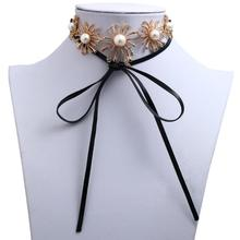 YX562 Hot selling fashion jewelry sexy necklace diamond flower pearl leather necklace