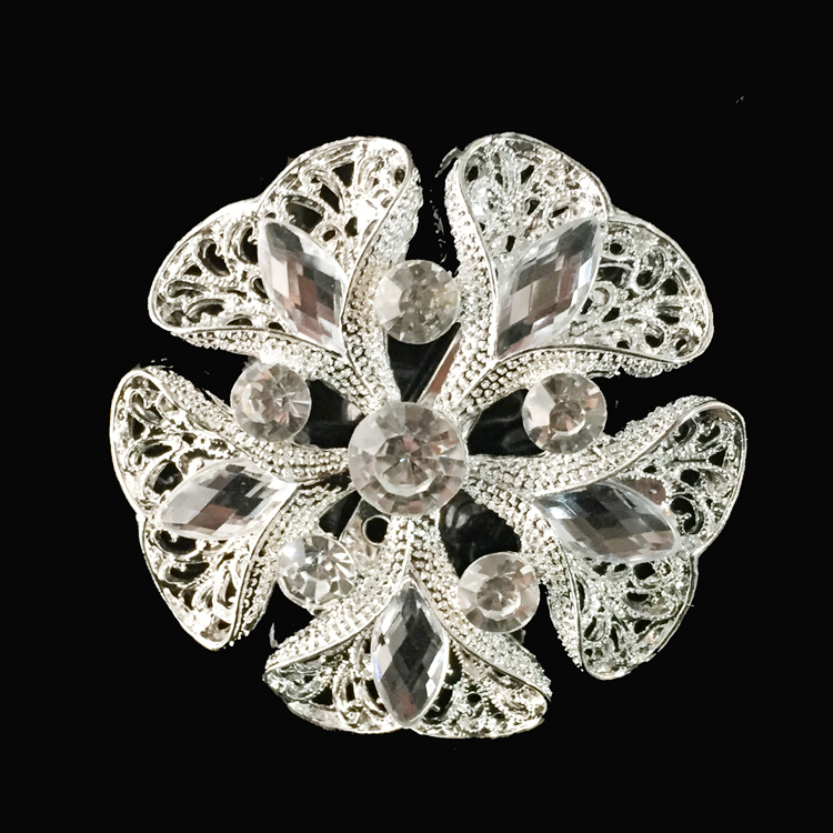 high quality metal and crystal rhinestone women floral brooch/irish channel brooch pins
