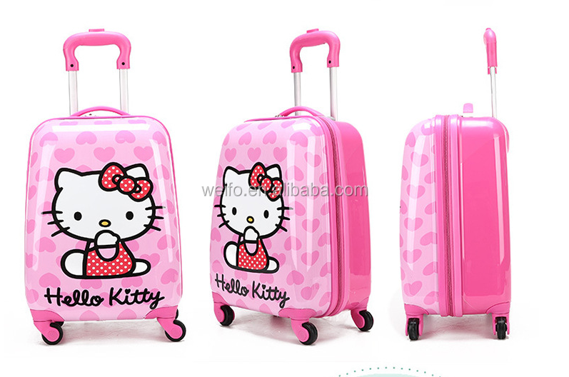 Hello kitty abs+pc kids trolley luggage cases