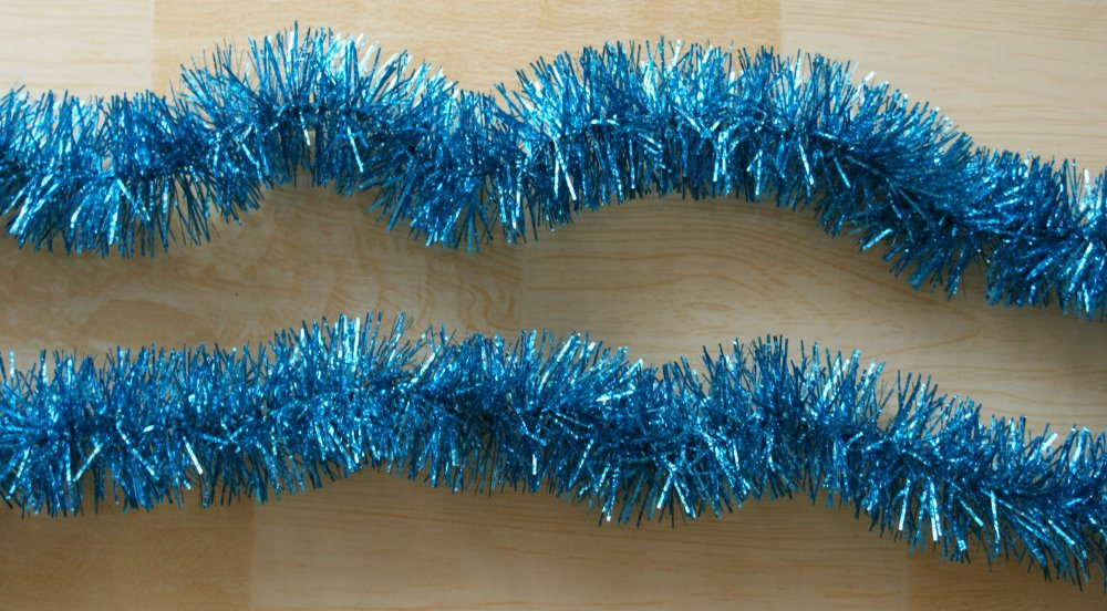 Hot sale christmas gift garland deep bluegreen tinsel garland ornament