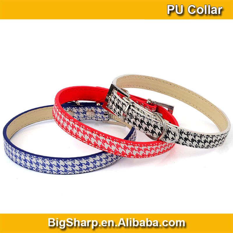 Pu Dogs Cute Necklace Dress Black Blue Red Comfort Leather Fahion Printed Dog Collar with Tough Metal Bulk CS032P