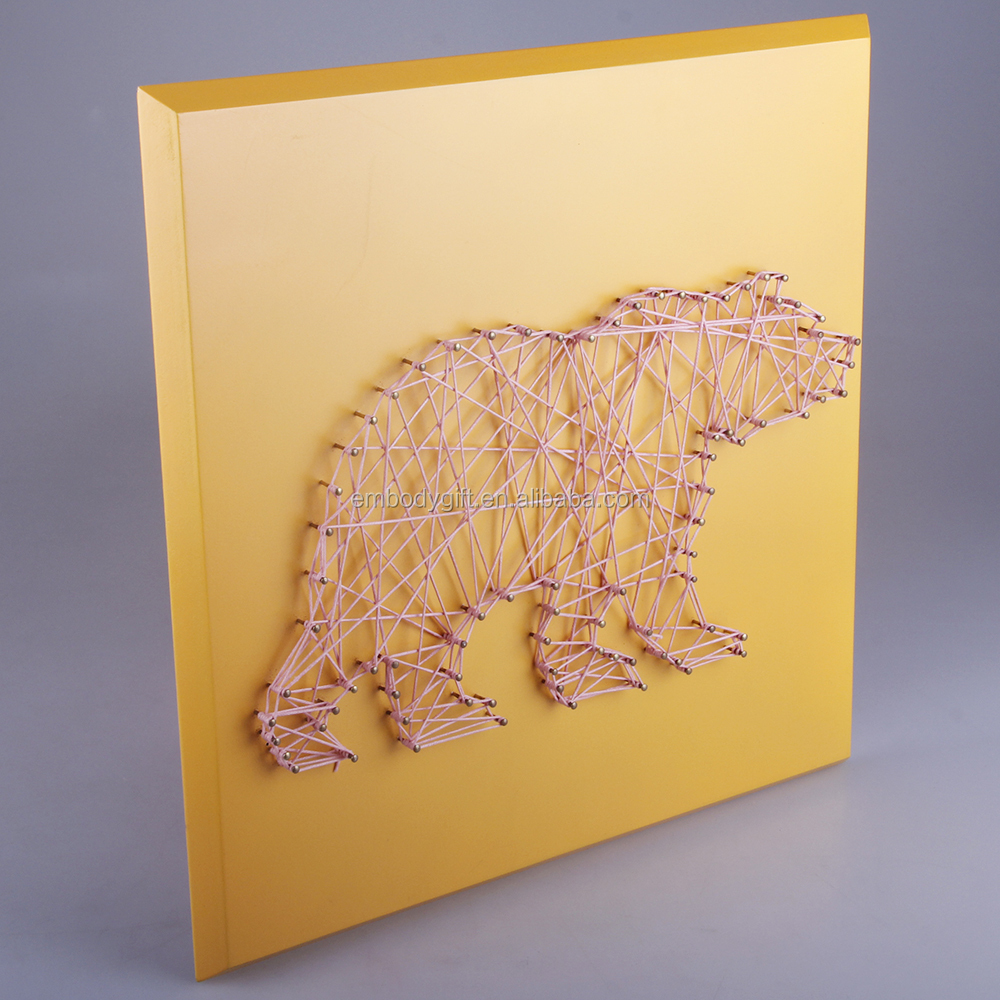 Hand-made wooden string wall art with the bear shaped design for home decoration