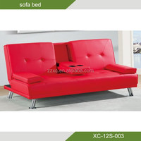 furniture living room 2 seater Faux Leather Sofa Bed with Fold Down cup Table XC-12S-003