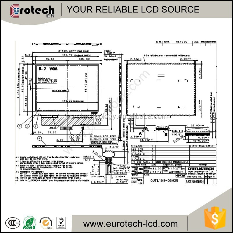 High brightness COM57H5M25KLC 5.7inch industrial lcd from Eurotech