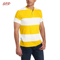 Striped male casual blouse top shirt new design polo collar customized man t shirt