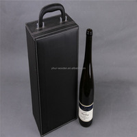 Factory directly sale red PU leather paulownia wood wine box packaging box with handle