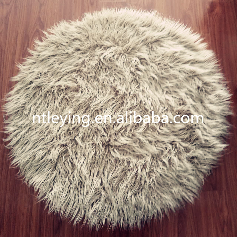 Area Rug,Round flokati mongolian faux fur sheepskin rug chair carpet home decoration shaggy rug LYFR010