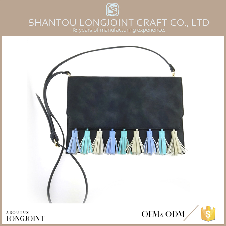 Promotional ladies hand bags leather tassels for handbag
