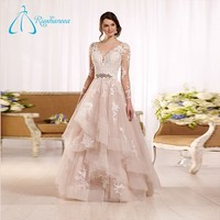 A Line Light Pink Tulle Satin V Neck Custom Made Plus Size Wedding Dress