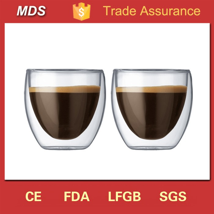 High borosilicate double walled insulated coffee glasses