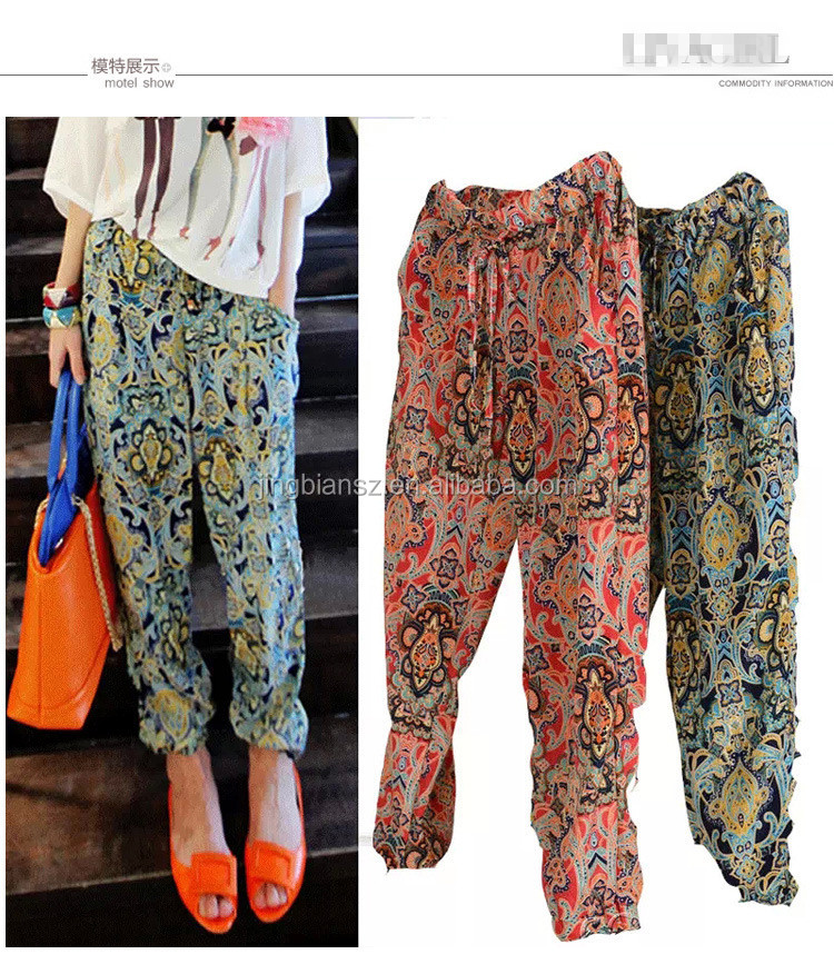 Unit fashion printed loose causal women trousers , Korea stylish lady prined long pants OCW3855