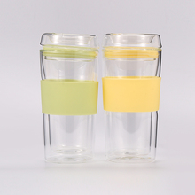 350ml Wholesale New Design High Quality Borosilicate Double Wall Glass Cup with silicone sleeve and lid