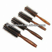 wood boar bristle rotating hair brush