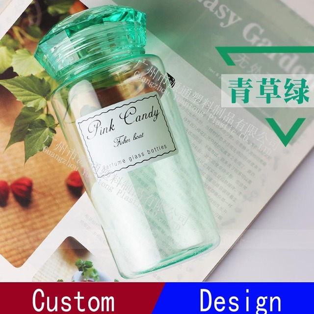 Diamond Shaped Lid Plastic Crystal Perfume Bottles for Beverage