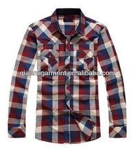 mens long sleeve stylish long sleeve plaid/check two pockets casual shirts QR-2012