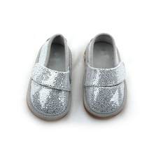Unisex Baby Kids Genuine Glitter Leather Flat Sneaker Squeaky Shoes