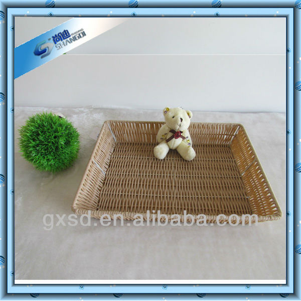 S&D eco-friendly plastic rattan large square fruit tray