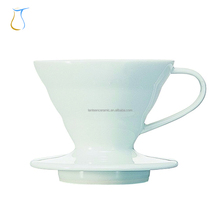 Costom white Filter Cone Whape Ceramic Pour over v60 Coffee dripper for Drip coffee Maker