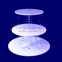 3 Tiers Clear Plastic Cupcake Display Stand Folding Butterfly Decorative White Round Acrylic Muti-layer Cake Stand