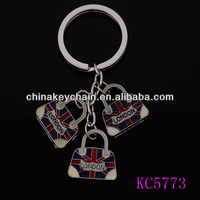 Fake brand handbag shaped souvenir keychain from London