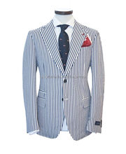 urban stylish navy stripes classy slim fit high class modern city life custom men suit