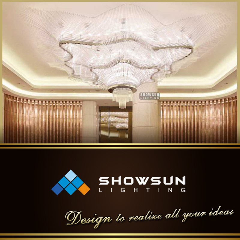 Customization size unique design 3 tiered Flower shaped crystal ceiling lamp