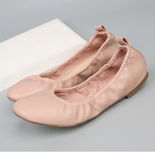 Elegant ladies comfort flat female pink roll up ballerina shoes