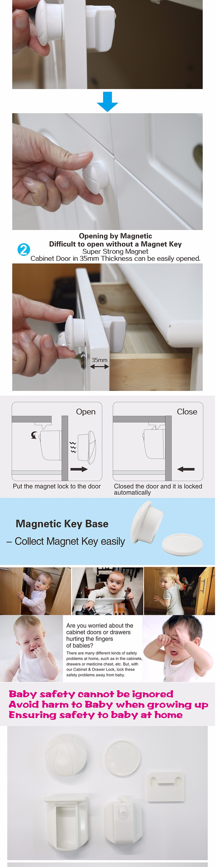 8 pcs Baby Kids Safety Magnetic Lock Cabinet Drawer Cupboard Locks DC003