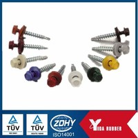 carbon steel hex head sheet metal roofing screw with rubber washer