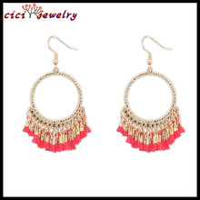 Amazon hot New big round alloy gold plated drop earrings jewelry tassel red Chinese knot lady hoop earring wholesale