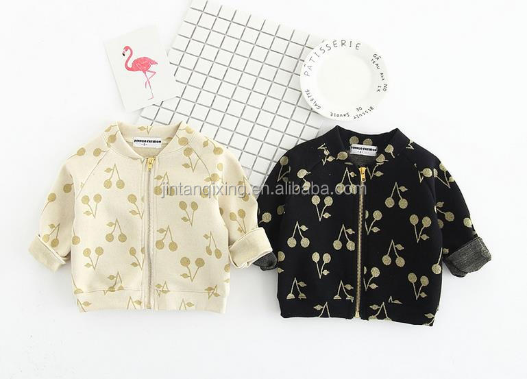 2017 new spring children boutique clothing girls long sleeve outwear printed with cherry