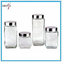 Wholesale kitchen storage square glass jars and lids