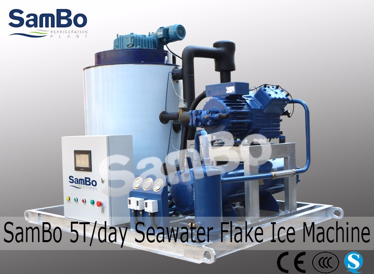 CE 5Tons/day Salt Water Ice Flake Machine Used on Fishing Boat