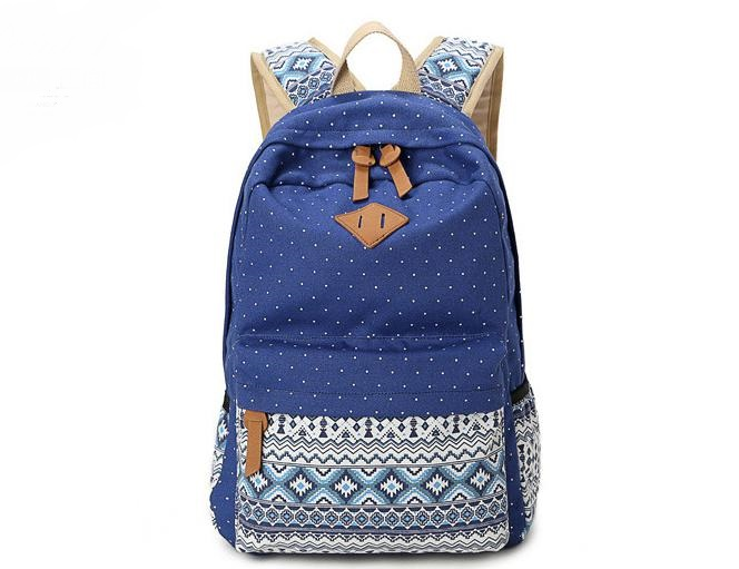 Canvas School Bag Backpack Girls, Unisex Fashionable Canvas Zip Backpack School College Laptop Bag for Teens Girls Student