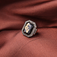 Women's jewelry world fashion accessories manufacturers wholesale direct retro crystal large black gemstones ring Jz00216