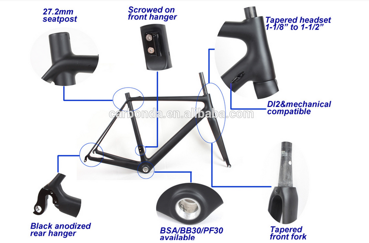 Ultra-light light Chinese OEM ODM service Carbon road bike frame 066