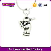 Fashion wholesale zinc alloy antique baseball sports player charms necklace, vintage sports jewelry making
