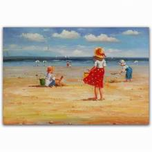 Handmade art beach kids secnery pictures of people oil painting decoration