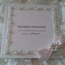 Hot sale & new arrival elegant white glitter wedding invitations with pearl border & pink ribbon bowknot