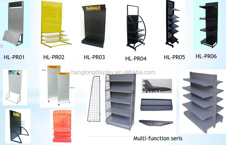heavy duty metal pegboard display stand with hooks