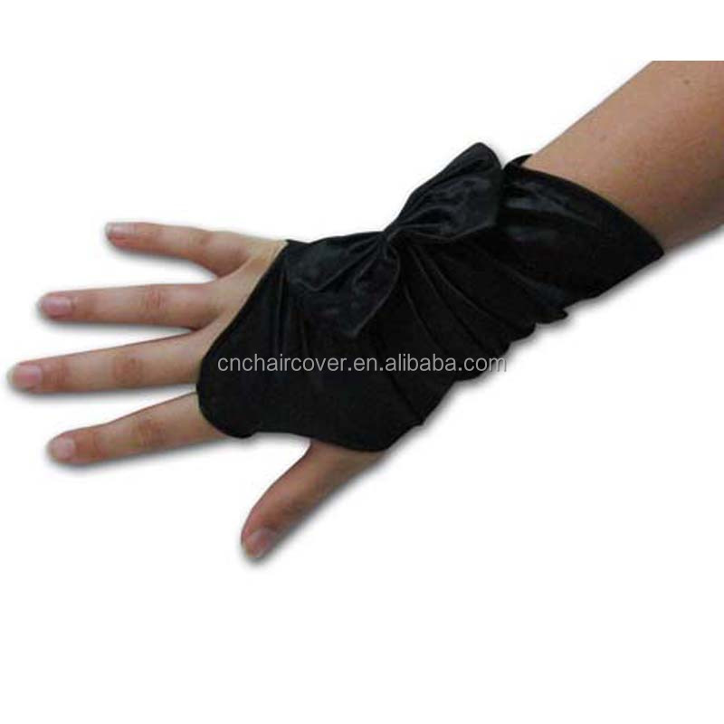 Short Black Satin Gloves Fingerless High Quality Satin Bride Gloves