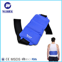 Back Ice Pack with elastic strap Physical therapy waist wrap Flexible Nylon hot cold gel pack FDA CE