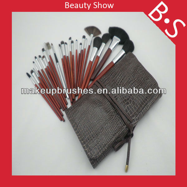 Professional 24pcs makeup brush set for <strong>face</strong>,wholesale price beauty cosmetic set,leather bag package